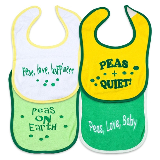 "Picture of ""Sayings"" Bibs (Medium) - Peas Series"