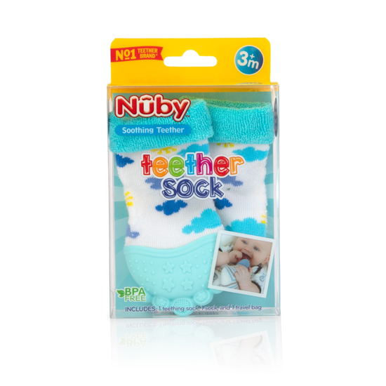 Nuby Soothing Teething teether Socks 3 Sharks-A19 months BPA Free Silicon