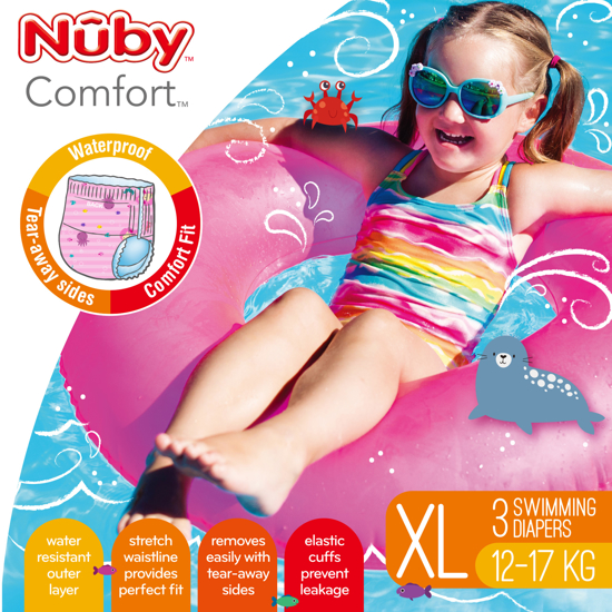 Picture of Comfort™ Swimming Diapers - Extra Large (12-17 kg) - Girl